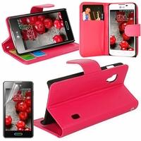 LG Optimus L5 II E460 (non compatible LG L5 II E455 Dual Sim): Etui portefeuille Support Video cuir PU - ROSE