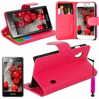 LG Optimus L5 II E460 (non compatible LG L5 II E455 Dual Sim): Etui portefeuille Support Video cuir PU + mini Stylet - ROSE