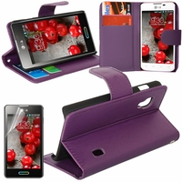 LG Optimus L5 II E460 (non compatible LG L5 II E455 Dual Sim): Etui portefeuille Support Video cuir PU - VIOLET