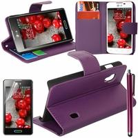 LG Optimus L5 II E460 (non compatible LG L5 II E455 Dual Sim): Etui portefeuille Support Video cuir PU + Stylet - VIOLET