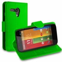 Motorola Moto G X1032/ Forte/ Grip Shell/ LTE 4G: Etui portefeuille Support Video cuir PU - VERT