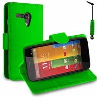 Motorola Moto G X1032/ Forte/ Grip Shell/ LTE 4G: Etui portefeuille Support Video cuir PU + mini Stylet - VERT