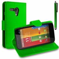 Motorola Moto G X1032/ Forte/ Grip Shell/ LTE 4G: Etui portefeuille Support Video cuir PU + Stylet - VERT