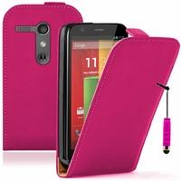 Motorola Moto G X1032/ Forte/ Grip Shell/ LTE 4G: Etui Rabattable Verticale en cuir PU + mini Stylet - ROSE