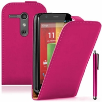 Motorola Moto G X1032/ Forte/ Grip Shell/ LTE 4G: Etui Rabattable Verticale en cuir PU + Stylet - ROSE