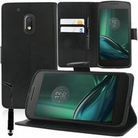 "Motorola Moto G4 Play 5.0"": Etui portefeuille Support Video cuir PU + mini Stylet - NOIR"