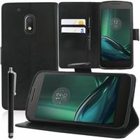 "Motorola Moto G4 Play 5.0"": Etui portefeuille Support Video cuir PU + Stylet - NOIR"