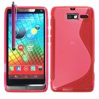 Motorola Razr i XT890: Coque silicone Gel motif S au dos + Stylet - ROSE
