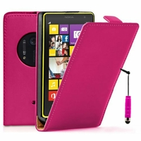 Nokia Lumia 1020/ EOS/ 909/ RM-875/ RM-877/ RM-876: Etui Rabattable Verticale en cuir PU + mini Stylet - ROSE
