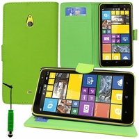Nokia Lumia 1320/ RM-994/ RM-995/ RM-996: Etui portefeuille Support Video cuir PU + mini Stylet - VERT