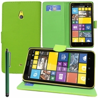 Nokia Lumia 1320/ RM-994/ RM-995/ RM-996: Etui portefeuille Support Video cuir PU + Stylet - VERT