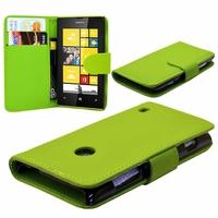 Nokia Lumia 520/ 525/ 521 RM-917: Etui portefeuille Livre Housse Coque Pochette cuir PU - VERT