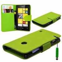 Nokia Lumia 520/ 525/ 521 RM-917: Etui portefeuille Livre Housse Coque Pochette cuir PU + mini Stylet - VERT