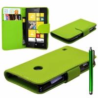 Nokia Lumia 520/ 525/ 521 RM-917: Etui portefeuille Livre Housse Coque Pochette cuir PU + Stylet - VERT