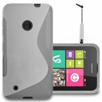 Nokia Lumia 530/ 530 Dual Sim/ RM-1017/ RM-1019: Coque silicone Gel motif S au dos + mini Stylet - TRANSPARENT
