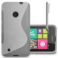 Nokia Lumia 530/ 530 Dual Sim/ RM-1017/ RM-1019: Coque silicone Gel motif S au dos + Stylet - TRANSPARENT