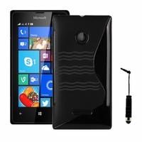 Microsoft Nokia Lumia 532/ 532 Dual SIM: Coque silicone Gel motif S au dos + mini Stylet - NOIR