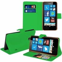 Nokia Lumia 630/ 630 3G/ 635/ 638/ RM-974/ RM-975/ RM-976: Etui portefeuille Support Video cuir PU - VERT