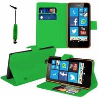 Nokia Lumia 630/ 630 3G/ 635/ 638/ RM-974/ RM-975/ RM-976: Etui portefeuille Support Video cuir PU + mini Stylet - VERT