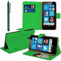 Nokia Lumia 630/ 630 3G/ 635/ 638/ RM-974/ RM-975/ RM-976: Etui portefeuille Support Video cuir PU + Stylet - VERT