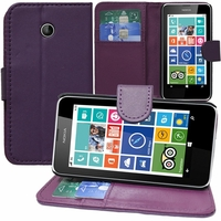 Nokia Lumia 630/ 630 3G/ 635/ 638/ RM-974/ RM-975/ RM-976: Etui portefeuille Support Video cuir PU - VIOLET