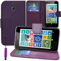 Nokia Lumia 630/ 630 3G/ 635/ 638/ RM-974/ RM-975/ RM-976: Etui portefeuille Support Video cuir PU + mini Stylet - VIOLET