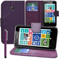 Nokia Lumia 630/ 630 3G/ 635/ 638/ RM-974/ RM-975/ RM-976: Etui portefeuille Support Video cuir PU + Stylet - VIOLET