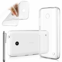 Nokia Lumia 630/ 630 3G/ 635/ 638/ RM-974/ RM-975/ RM-976: Coque Silicone gel UltraSlim et Ajustement parfait + Stylet - TRANSPARENT
