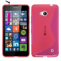 Microsoft Nokia Lumia 640 LTE/ 640 LTE Dual SIM/ 640 Dual SIM: Coque silicone Gel motif S au dos + mini Stylet - ROSE