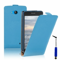 Microsoft Nokia Lumia 640 LTE/ 640 LTE Dual SIM/ 640 Dual SIM: Etui Rabattable Verticale en cuir PU + mini Stylet - BLEU