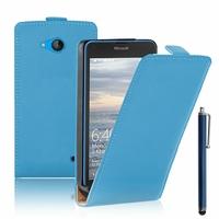 Microsoft Nokia Lumia 640 LTE/ 640 LTE Dual SIM/ 640 Dual SIM: Etui Rabattable Verticale en cuir PU + Stylet - BLEU