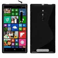 Nokia Lumia 830 RM-984: Coque silicone Gel motif S au dos + mini Stylet - NOIR