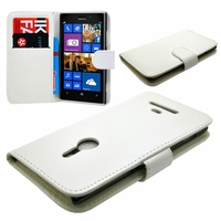 Nokia Lumia 925: Etui portefeuille Livre Housse Coque Pochette cuir PU - BLANC