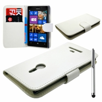 Nokia Lumia 925: Etui portefeuille Livre Housse Coque Pochette cuir PU + Stylet - BLANC