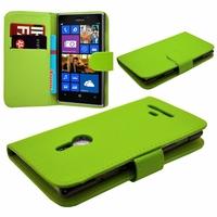 Nokia Lumia 925: Etui portefeuille Livre Housse Coque Pochette cuir PU - VERT
