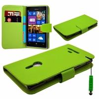 Nokia Lumia 925: Etui portefeuille Livre Housse Coque Pochette cuir PU + mini Stylet - VERT