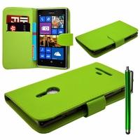 Nokia Lumia 925: Etui portefeuille Livre Housse Coque Pochette cuir PU + Stylet - VERT