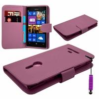Nokia Lumia 925: Etui portefeuille Livre Housse Coque Pochette cuir PU + mini Stylet - VIOLET