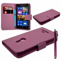 Nokia Lumia 925: Etui portefeuille Livre Housse Coque Pochette cuir PU + Stylet - VIOLET