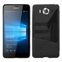 Microsoft Nokia Lumia 950/ 950 Dual SIM: Coque silicone Gel motif S au dos - NOIR