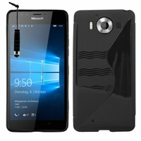 Microsoft Nokia Lumia 950/ 950 Dual SIM: Coque silicone Gel motif S au dos + mini Stylet - NOIR