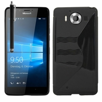 Microsoft Nokia Lumia 950/ 950 Dual SIM: Coque silicone Gel motif S au dos + Stylet - NOIR