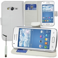 Samsung Galaxy Trend 2 Lite SM-G318H: Etui portefeuille Support Video cuir PU + mini Stylet - BLANC