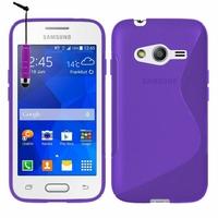 Samsung Galaxy Trend 2 Lite SM-G318H: Coque silicone Gel motif S au dos + mini Stylet - VIOLET