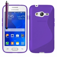Samsung Galaxy Trend 2 Lite SM-G318H: Coque silicone Gel motif S au dos + Stylet - VIOLET