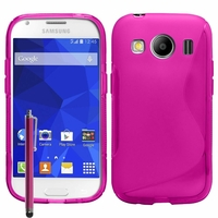 Samsung Galaxy Ace 4 Style LTE SM-G357FZ: Coque silicone Gel motif S au dos + Stylet - ROSE