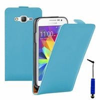Samsung Galaxy Core Prime SM-G360F/ 4G SM-G361F/ Duos G3606/ G3608/ G3609/ G360GY G360P G360BT/DS G360FY/DS G360H/DS G360HU/DS G360M/DS: Etui Rabattable Verticale en cuir PU + mini Stylet - BLEU