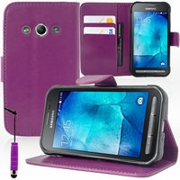 Samsung Galaxy Xcover 3 SM-G388F/ Xcover 3 (2016) Value Edition SM-G389F: Etui portefeuille Support Video cuir PU + mini Stylet - VIOLET