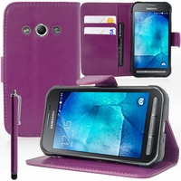 Samsung Galaxy Xcover 3 SM-G388F/ Xcover 3 (2016) Value Edition SM-G389F: Etui portefeuille Support Video cuir PU + Stylet - VIOLET