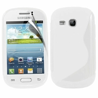Samsung Galaxy Young S6310 Duos S6312 GT-S6310L: Coque silicone Gel motif S au dos - BLANC
